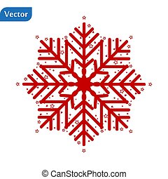 Red Snowflake icon isolated on white background. Vector Illustration