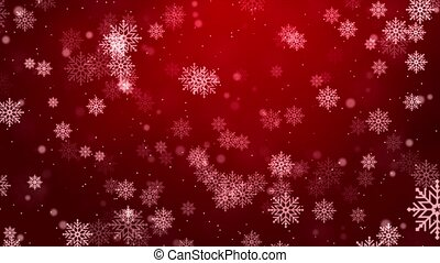 Red snowflakes flying in the air. Snow flakes, snow loop ...