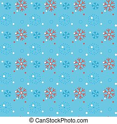 Red snowflakes on a blue background. Snowflake vector pattern.