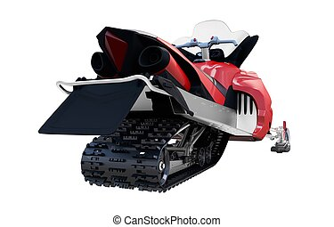 Red Snowmobile Isolated