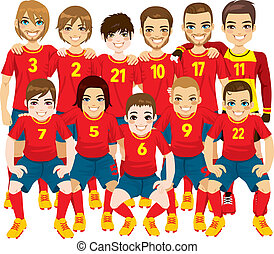 Red Soccer Team - Illustration of male professional soccer...