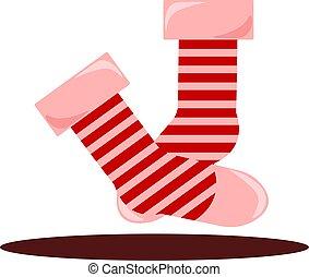Red socks, illustration, vector on white background.