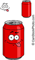 Red soda can with a goofy comical look