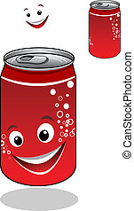 Red soda can with bubbles and a happy smile