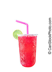 Red soda sweet water Isolated on a white background