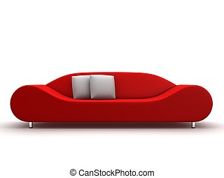 red sofa - 3d rendered illustration of a modern sofa