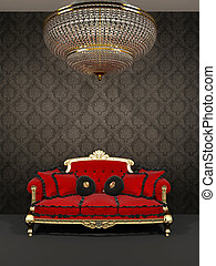 Red sofa and chandelier in royal interior
