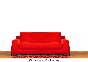 Red sofa - Big comfort red sofa in living room