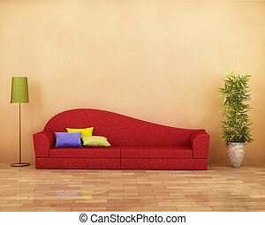 Red sofa with plant and parquet