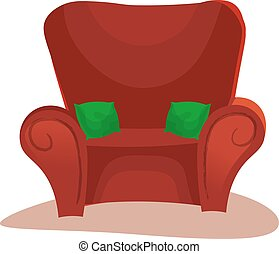 Red sofa icon on white background with shadows and indentations vector illustration