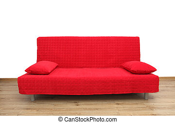 Red sofa in empty living room