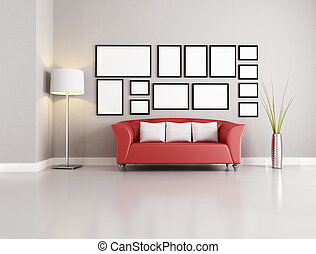 living room - red sofa in modern living room with empty ...