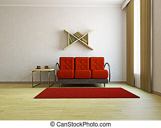 Red sofa in the livingroom near the window