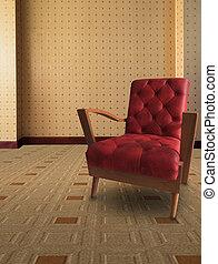 red sofa in vintage room design