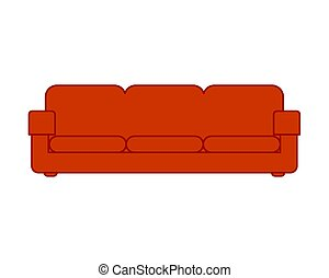 Red sofa isolated. couch cartoon Vector illustration