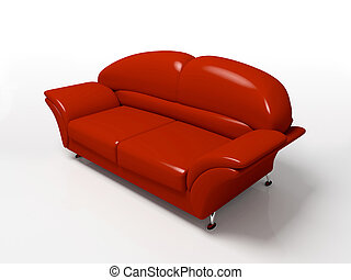 Red sofa isolated on white background 3D