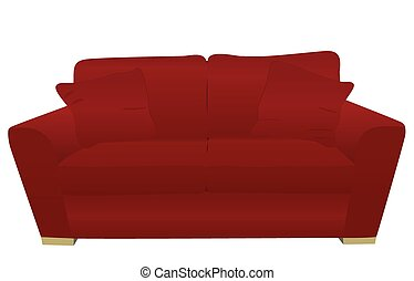 red sofa isolated on white background