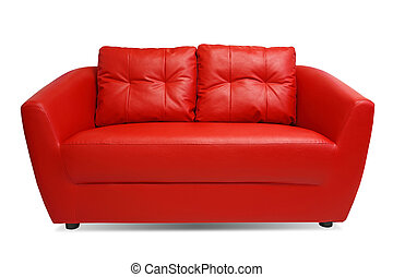 Red Sofa isolated on white background with clipping path