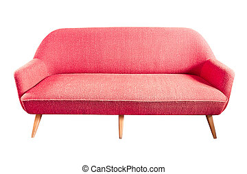 red sofa isolated with clipping path