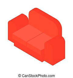 Red sofa isometric 3d icon