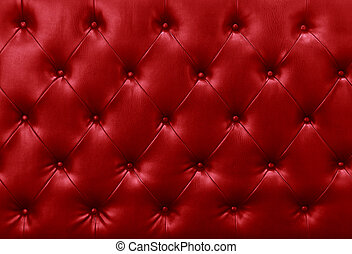 Red Leather Chesterfield Sofa Close Up Of Backrest Of Red