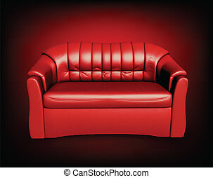 Red sofa on black background - Golden sofa on white...