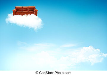 Red sofa on the cloud with blue sky background