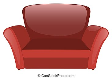 Red sofa on white background