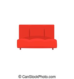 Red sofa or couch, living room or office interior, furniture...