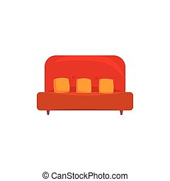 Red sofa or couch with pillows, living room or office...