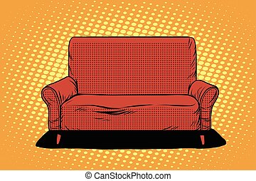 Red sofa then art retro vector - Red sofa then pop art retro...