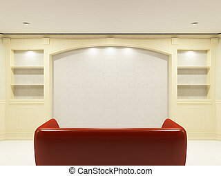 Red sofa with place on the wall for yours information