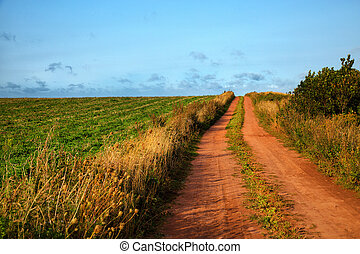 Red soil road with a blue sky in background