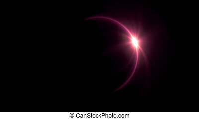 red Solar eclipse ring flare