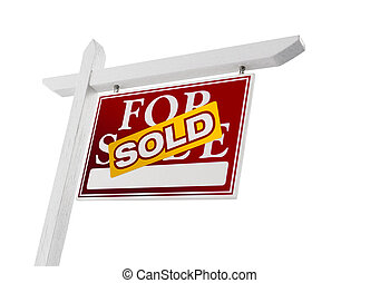 Red Sold For Sale Real Estate Sign on White
