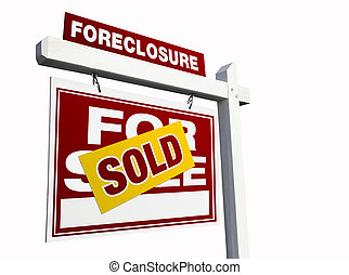 Red Sold Foreclosure Real Estate Sign on White - Red Sold...