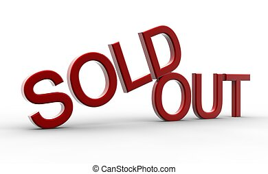Red sold out - A red sold out isolated on a white background