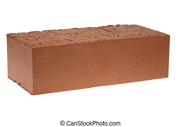 Red solid brick on a white background