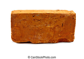 brick - red solid brick on a white background