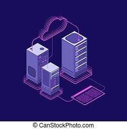 red, soluciones, vector, datacenter, sitio web, hosting, administrativo, apoyo, servicios, concepto, isométrico