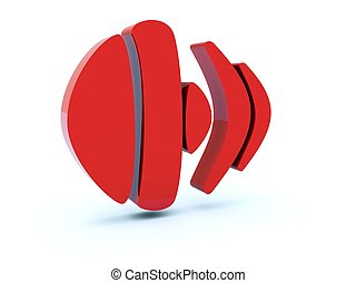 Red sound icon isolated on white