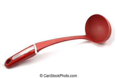 Red soup ladle displayed on a white background