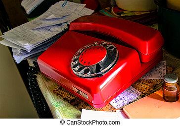 Red soviet retro telephone