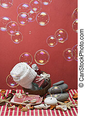 Red spa with bubbles 2. - Spa background with red hygiene...