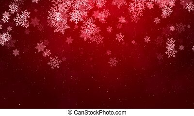 Red Sparkling Lights Festive Loop Snow background with texture.