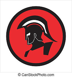 Trojan warrior on the red circle background. Historical Sparta concept icon. Antique Rome Emblem. suitable for team mascot, community icon, emblem, product identity, corporate identity, illustration for clothing, etc.