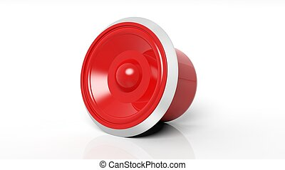 Red speaker, isolated on white background.