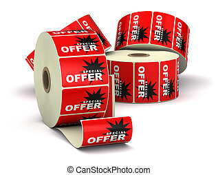 red special offer stickers on a bobbin, image is isolated over a white background with shadow
