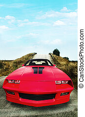 Red speed car on the countryside