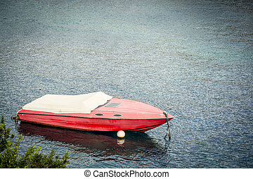 Red speed motor boat